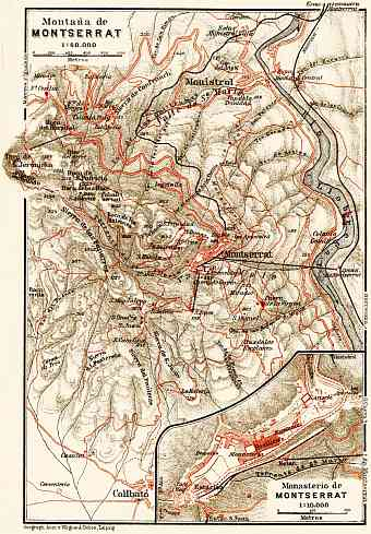 Montserrat Mountain and Monastery map, 1929