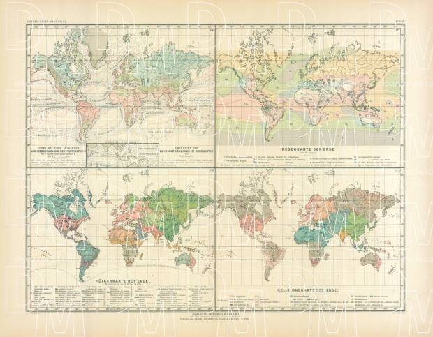 World Temperature, Ocean Currents, Rain, Religions and Population Maps, 1905. Use the zooming tool to explore in higher level of detail. Obtain as a quality print or high resolution image