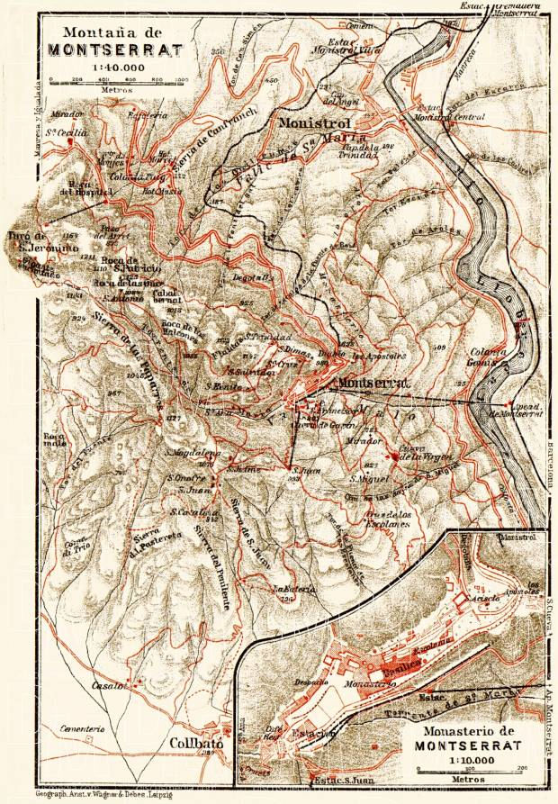 Montserrat Mountain and Monastery map, 1929. Use the zooming tool to explore in higher level of detail. Obtain as a quality print or high resolution image