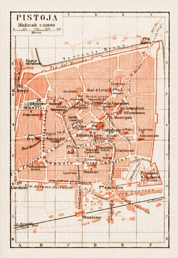 Pistoia (Pistoja) town plan, 1903. Use the zooming tool to explore in higher level of detail. Obtain as a quality print or high resolution image