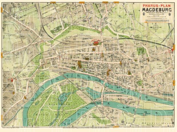 Old map of Magdeburg in 1912 Buy vintage map replica poster print