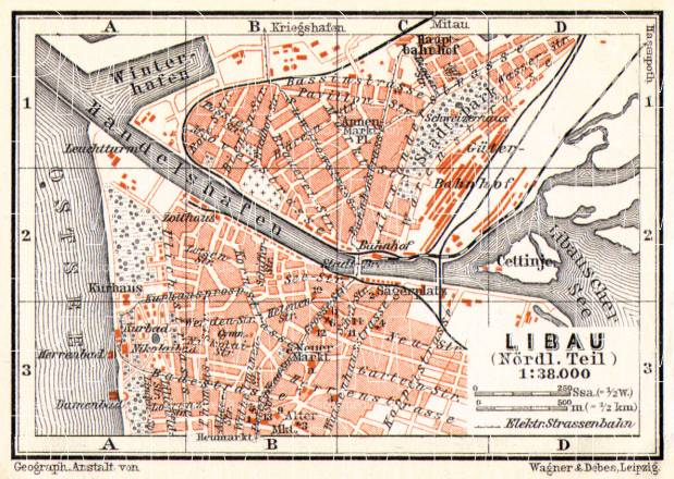 Libau (Liepāja) city map, 1914. Use the zooming tool to explore in higher level of detail. Obtain as a quality print or high resolution image