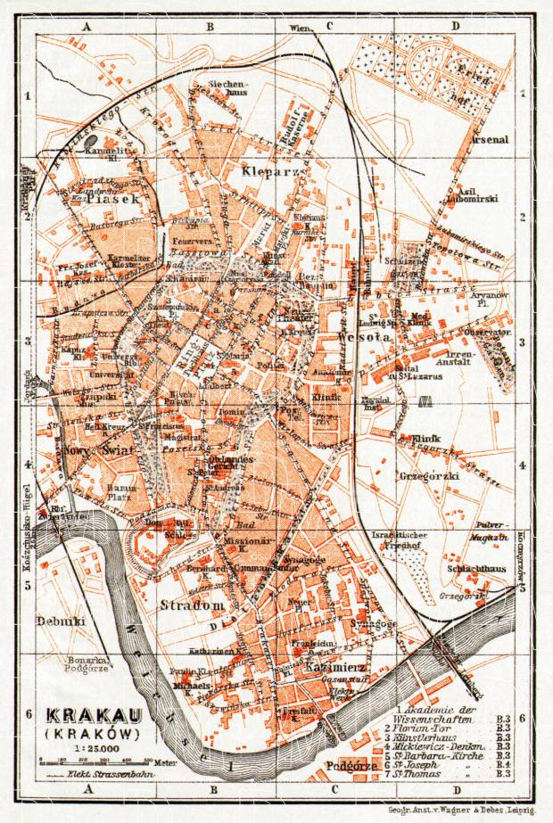 Old map of Krakau Krakw in 1913 Buy vintage map replica poster