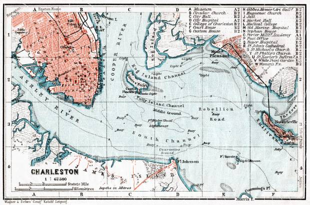 Charleston city map, 1909. Use the zooming tool to explore in higher level of detail. Obtain as a quality print or high resolution image