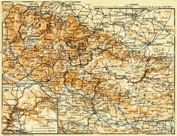 Harz mountains map, 1906. Use the zooming tool to explore in higher level of detail. Obtain as a quality print or high resolution image