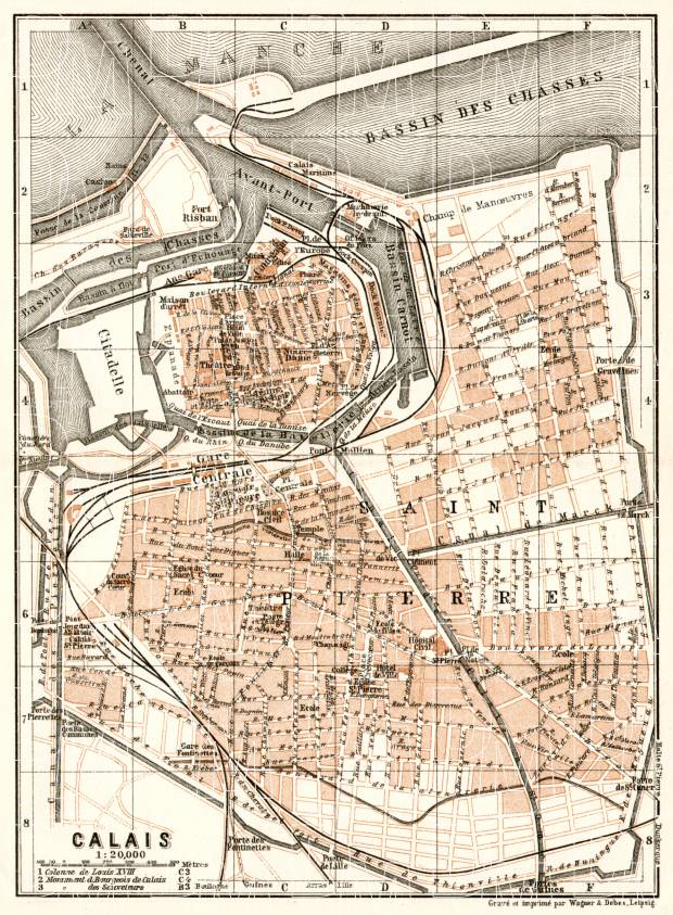 Calais city map, 1909. Use the zooming tool to explore in higher level of detail. Obtain as a quality print or high resolution image