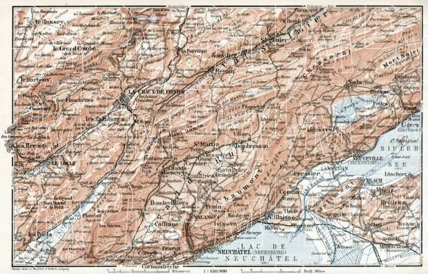 Old map of Northwest Jura in 1909. Buy vintage map replica poster ...