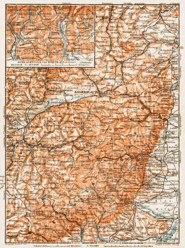 Map of the Bavarian Rhine-Palatinate (Bayerische Rheinpfalz), 1909. Use the zooming tool to explore in higher level of detail. Obtain as a quality print or high resolution image