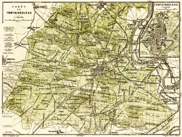 Forest of Fontainebleau and town of Fontainebleau map, 1903. Use the zooming tool to explore in higher level of detail. Obtain as a quality print or high resolution image
