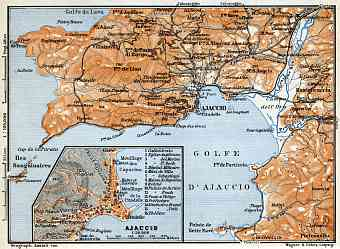 Ajaccio and environs map, 1900