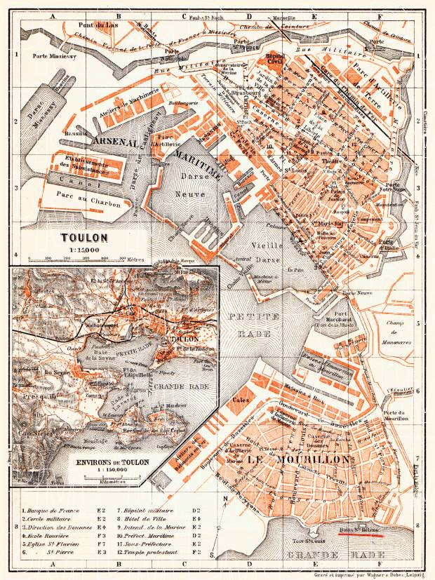 Old map of Toulon and vicinity of Toulon in 1900 Buy vintage map
