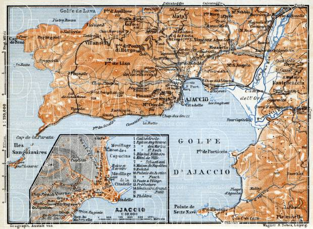 Ajaccio and environs map, 1900. Use the zooming tool to explore in higher level of detail. Obtain as a quality print or high resolution image