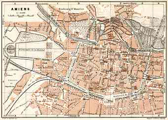 Amiens city map, 1909