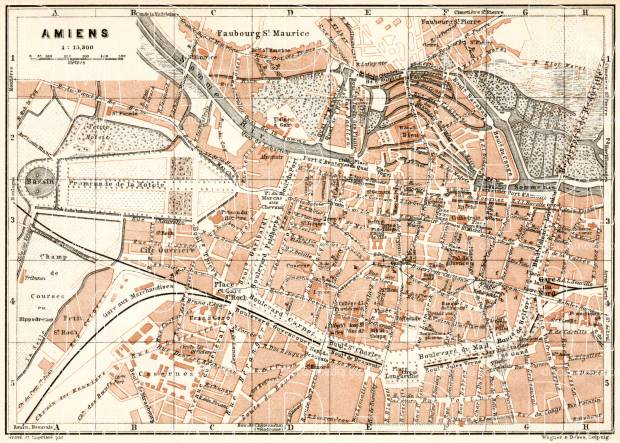 Amiens city map, 1909. Use the zooming tool to explore in higher level of detail. Obtain as a quality print or high resolution image