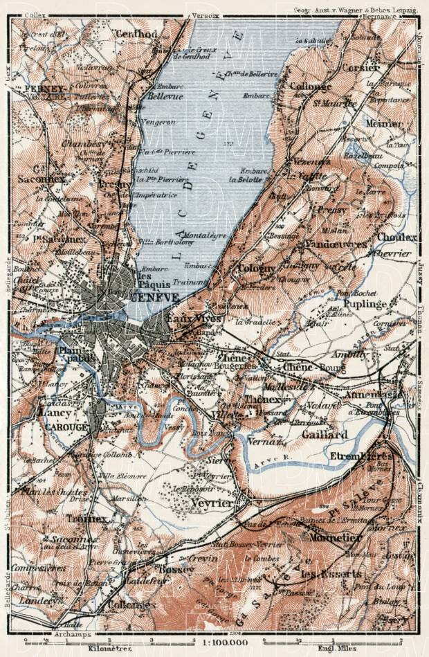 Geneva environs map, 1909. Use the zooming tool to explore in higher level of detail. Obtain as a quality print or high resolution image