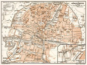 Königsberg (now Kaliningrad) city map, 1911