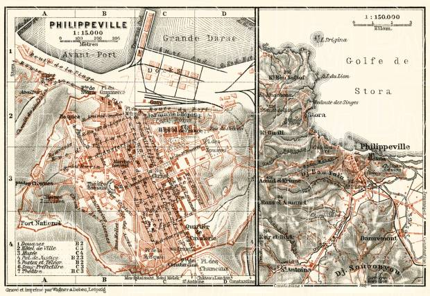 Skikda (Philippeville) city map, 1909. Use the zooming tool to explore in higher level of detail. Obtain as a quality print or high resolution image