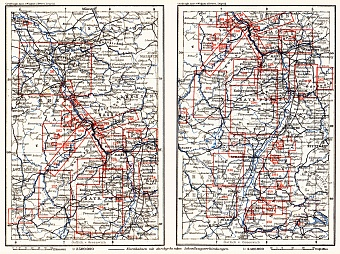 Table of maps of the Rhine River course in 1905