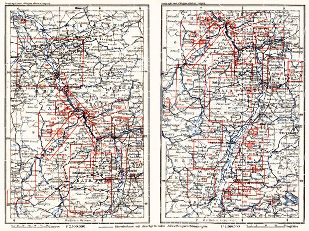 Table of maps of the Rhine River course in 1905. Use the zooming tool to explore in higher level of detail. Obtain as a quality print or high resolution image