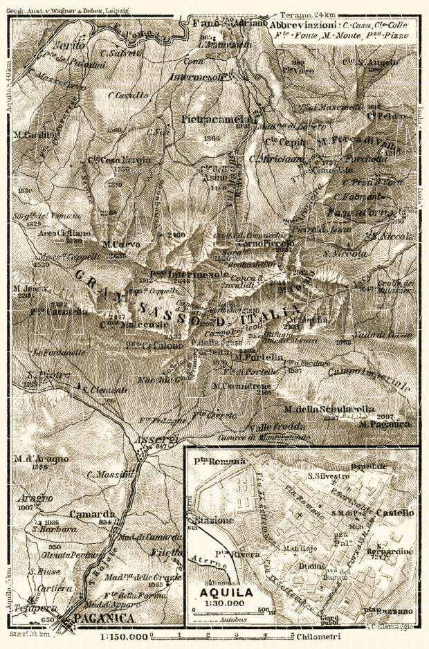 Paganica environs (Gran Sasso) and L´Aquila town plan, 1929. Use the zooming tool to explore in higher level of detail. Obtain as a quality print or high resolution image