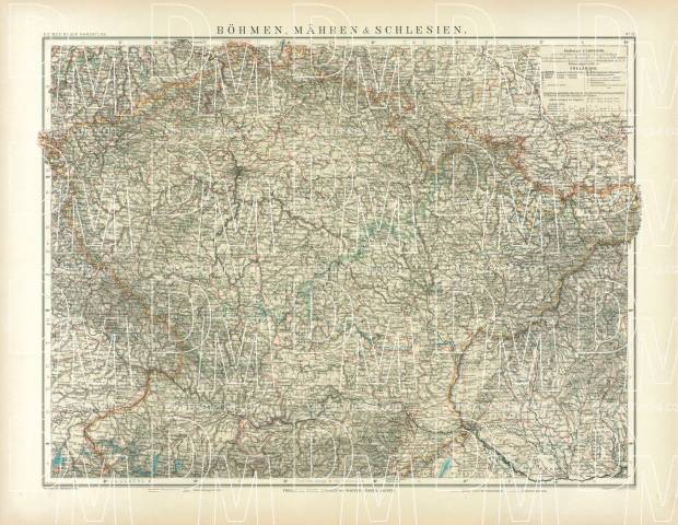 Bohemia, Moravia and Silesia Map, 1905. Use the zooming tool to explore in higher level of detail. Obtain as a quality print or high resolution image