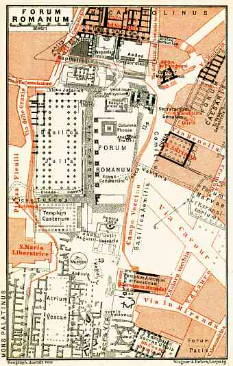 Rome, the Roman Forum plan, 1898