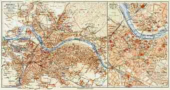 Dresden city map (with central part map inset), 1908
