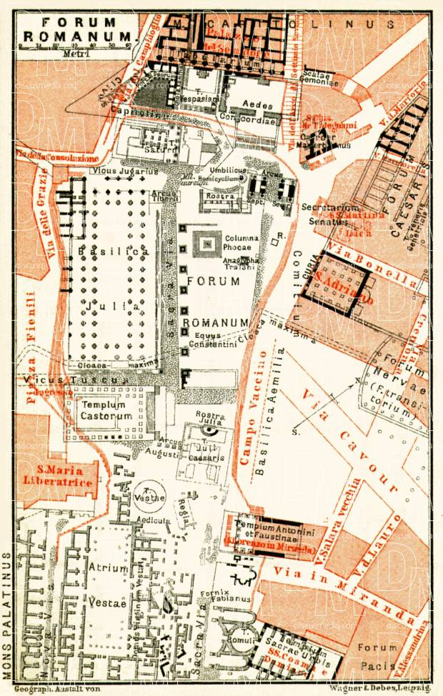 old map of the roman forum in rome in 1898 vintage map