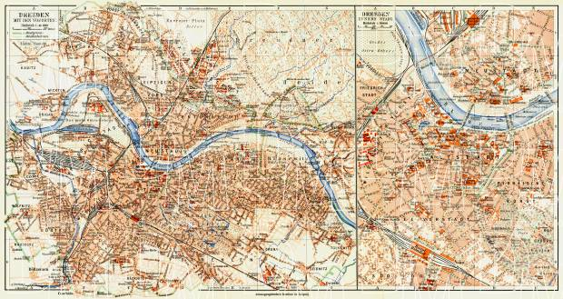 Dresden city map (with central part map inset), 1908. Use the zooming tool to explore in higher level of detail. Obtain as a quality print or high resolution image