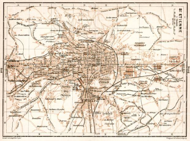 Saint-Étienne city map, 1902. Use the zooming tool to explore in higher level of detail. Obtain as a quality print or high resolution image
