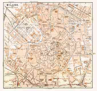 Milan (Milano) city map, 1898
