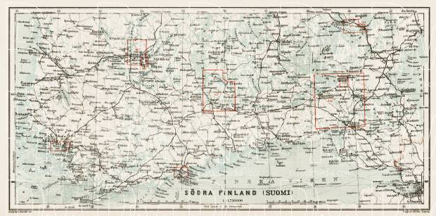 South Finland map, 1929. Use the zooming tool to explore in higher level of detail. Obtain as a quality print or high resolution image