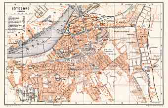 Göteborg (Gothenburg) city map, 1910