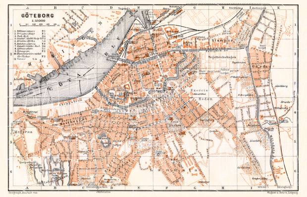 Göteborg (Gothenburg) city map, 1910. Use the zooming tool to explore in higher level of detail. Obtain as a quality print or high resolution image