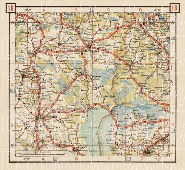 Estonian Road Map, Plate 16: Põltsamaa. 1938. Use the zooming tool to explore in higher level of detail. Obtain as a quality print or high resolution image