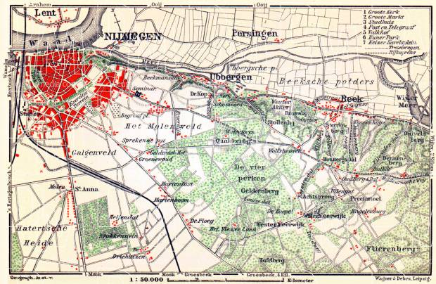 Nijmegen and environs map, 1904. Use the zooming tool to explore in higher level of detail. Obtain as a quality print or high resolution image