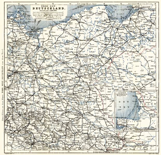 Germany, northeastern regions. General map, 1887. Use the zooming tool to explore in higher level of detail. Obtain as a quality print or high resolution image