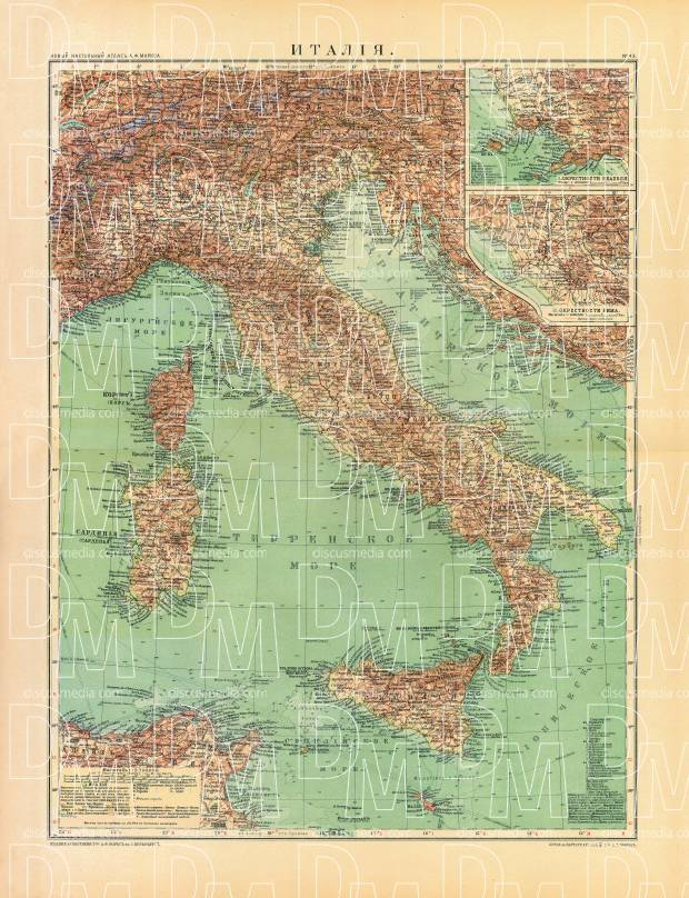 Italy Map (in Russian), 1910. Use the zooming tool to explore in higher level of detail. Obtain as a quality print or high resolution image