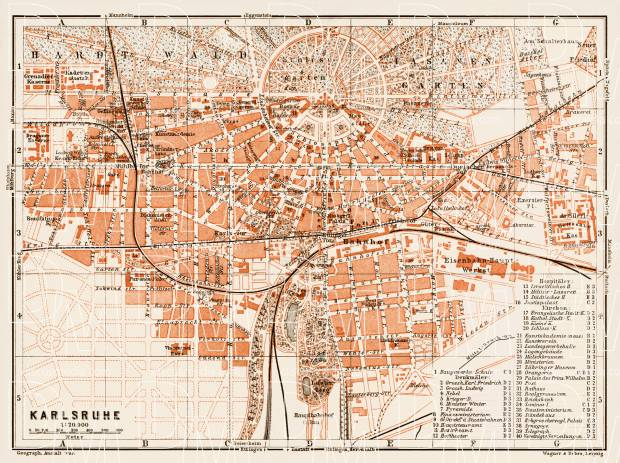 Karlsruhe Map Of Germany.Karlsruhe City Map 1909