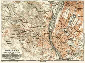Budapest and its environs map, 1929