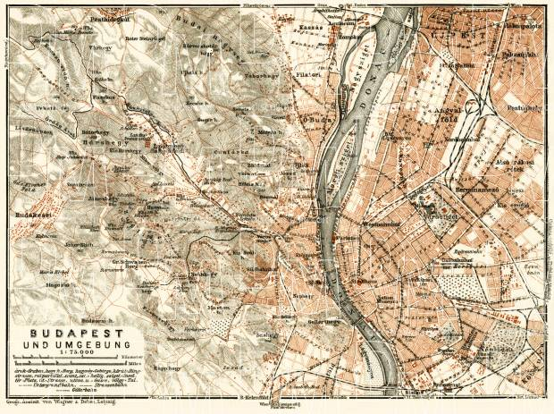 Budapest and its environs map, 1929. Use the zooming tool to explore in higher level of detail. Obtain as a quality print or high resolution image