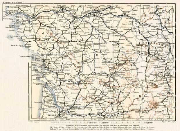 France, southwestern part map (Bordeaux, Nantes, Angers…), 1902. Use the zooming tool to explore in higher level of detail. Obtain as a quality print or high resolution image