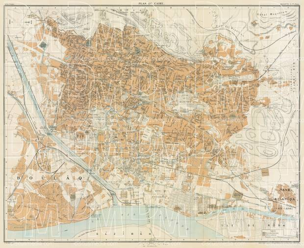 Cairo (القاهرة, al-Qāhirah) city map, 1906. Use the zooming tool to explore in higher level of detail. Obtain as a quality print or high resolution image