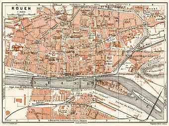 Rouen city map, 1913