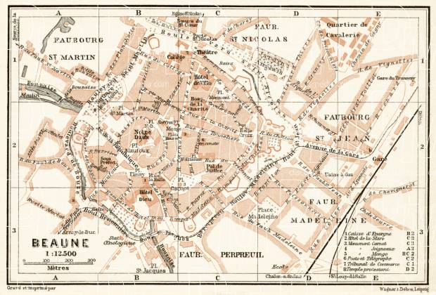 Beaune city map, 1909. Use the zooming tool to explore in higher level of detail. Obtain as a quality print or high resolution image
