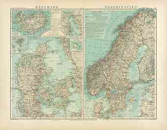 Denmark and Scandinavia Map, 1905