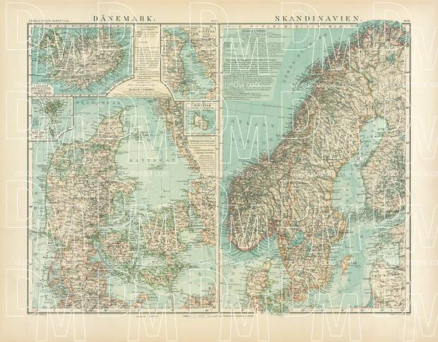 picture regarding Scandinavia Map Printable referred to as Denmark and Scandinavia Map, 1905