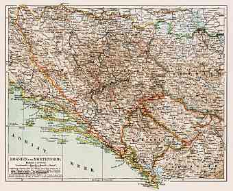 Map of Bosnia and Montenegro, 1903