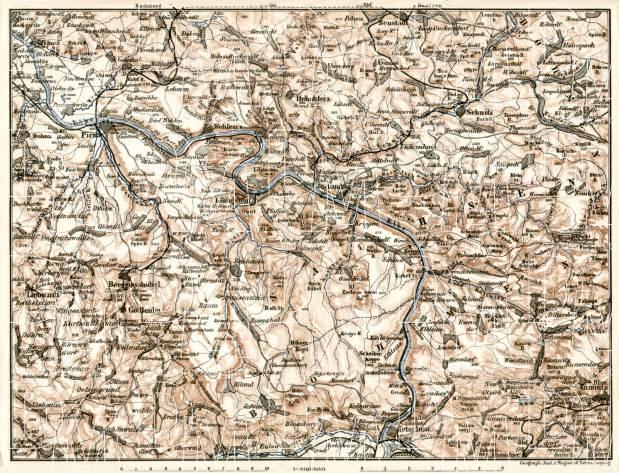 Schandau environs, Lower Saxony. Elbe River from Pirna to Tetschen (Děčín), 1906. Use the zooming tool to explore in higher level of detail. Obtain as a quality print or high resolution image