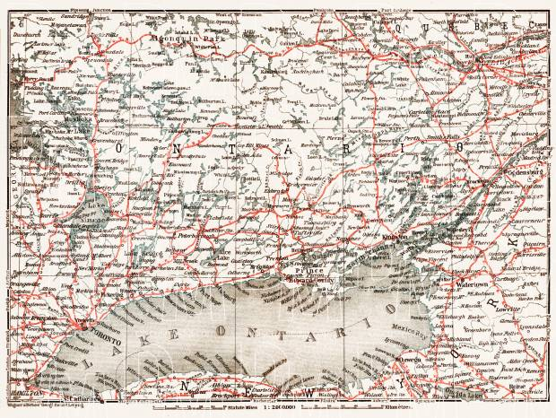 Map of the Province of Ontario, from Ottawa to Parry Sound and Hamilton, 1907. Use the zooming tool to explore in higher level of detail. Obtain as a quality print or high resolution image